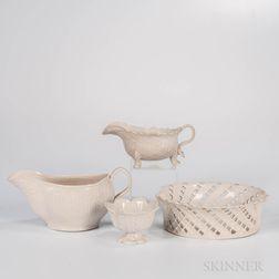 Four Staffordshire White Salt-glazed Stoneware Items