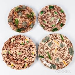 Four Press-molded Tortoiseshell-glazed Earthenware Plates