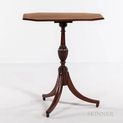 Federal Carved Mahogany Octagonal Tilt-top Candlestand