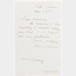 Sargent, John Singer (1856-1925) Autograph Letter Signed, Corfu, Greece, 18 November [after 1910]