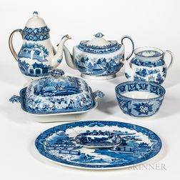 Seven Pieces of Blue and White Staffordshire Pottery Tableware