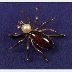 Garnet, Pearl and Diamond Spider Brooch