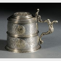 Parcel Gilt and Medallion-mounted Silver Tankard