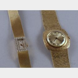 Two Lady's 14kt Gold Wristwatches
