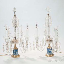 Pair of Wedgwood Jasper-mounted Crystal Candelabra