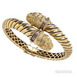 18kt Gold, Enamel, and Diamond Bracelet