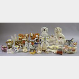 Thirty-six Late 19th/Early 20th Century Pottery and Porcelain Figural and Table Items