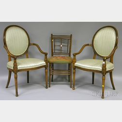 Pair of Louis XVI-style Upholstered Carved Beechwood Fauteuils and a Needlepoint-upholstered Wooden Ballroom Chair.