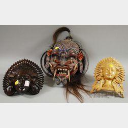 Three Southeast Asian Carved Wood Deity Masks