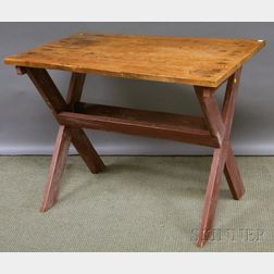 Scrubbed-top Red-painted Pine Sawbuck Table