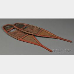 Pair of Northeast Wood and Rawhide Miniature Snowshoes