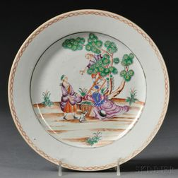 """Chinese Export Porcelain Plate Depicting """"The Cherry Pickers,"""""""