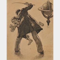 Norman Rockwell (American, 1894-1978)      Study for Tom Sawyer (Schoolmaster Flogging Tom Sawyer)