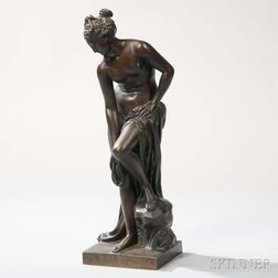 After Gabriel-Christophe Allégrain (French, 1710-1795)       Bronze Figure of a Bather (La Baigneuse)