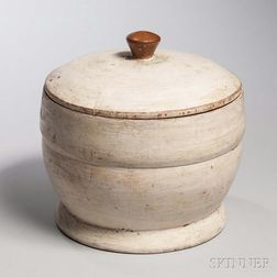 White-painted Treen Lidded Container
