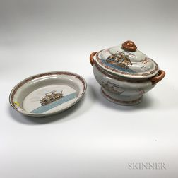 Chinese Export-style Ceramic Covered Tureen and Underplate