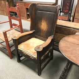 Early English Oak Wing Chair