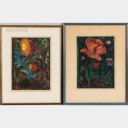Joseph Domjan (American, 1907-1992)      Two Framed Woodcuts: Thistle