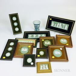 Group of Framed Wedgwood Green Jasper Medallions