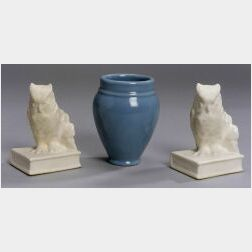 Rookwood Pottery Vase and Pair of Owl-form Bookends