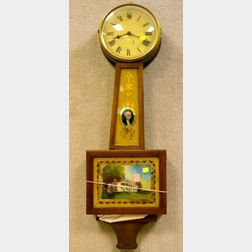 Federal-style Mahogany and George Washington Reverse-Painted Banjo Wall Timepiece.