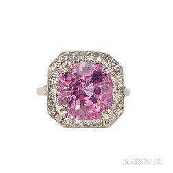 Platinum, Pink Sapphire, and Diamond Ring