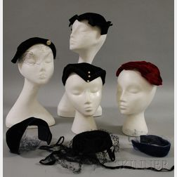 Seven Vintage Velvet Caps and Headbands