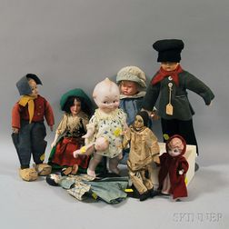 Group of Assorted Vintage Bisque and Composition Dolls