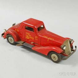 "Louis Marx Pressed Steel Wind-up ""Siren Fire Chief"" Car"