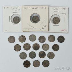 Twenty-one Silver Three Cent Trimes
