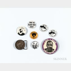Seven Civil Rights Era Pinback Buttons and a Black Power Buckle