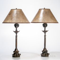"Pair of ""Lampe Tete de Femme"" Bronze Figural Lamps Attributed to Diego Giacometti (Swiss, 1902-1985)"