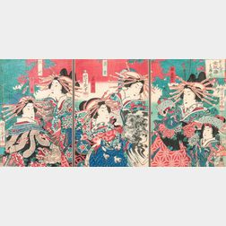 Utagawa Yoshiiku (1833-1904) Triptych Woodblock Print