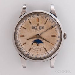 "Rare Rolex Stainless Steel Reference 8171 ""Padellone"" Triple Calendar Wristwatch"
