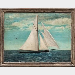 American School, Late 19th Century      Folk Painting of a Sailboat