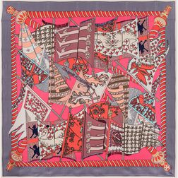 "Framed Hermes ""Etendards et Bannieres"" Gray and Pink Silk Scarf"