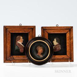 Three Molded Wax Profile Portraits