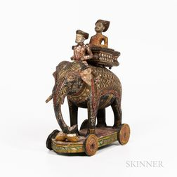 Polychrome-painted Wooden Toy Elephant