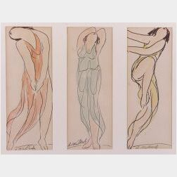 Abraham Walkowitz (American, 1878-1965)  Lot of Three Isadora Duncan Figural Sketches