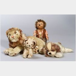 Group of Three Steiff Animals and a Mecki