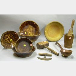 Five Woodenware Items, a Chopper, and Five Bennington/Rockingham Glazed Bowls