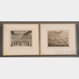 Thomas Rowlandson (British, 1756-1827) and Augustus Charles Pugin (1762-1832) Lot of Two Works: Society...