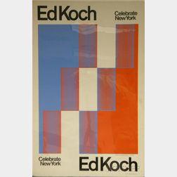 Richard Joseph Anuszkiewicz (American, b. 1930)      Ed Koch-Celebrate New York  /An Exhibition Poster