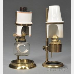 Two Brass and Ceramic Microscopy Fluid Lamps