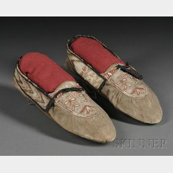 Pair of Metis Cree Quilled Hide Moccasins