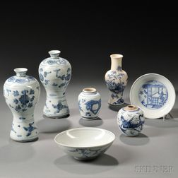Group of Blue and White Porcelain Items