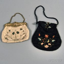 Two Embroidered Silk Purses