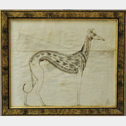 Framed Calligraphic Exercise of a Whippet