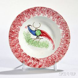 Red Spatterware Toddy Plate