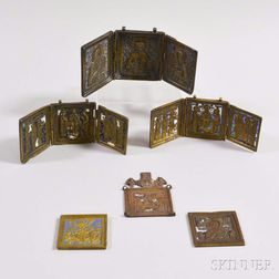 Three Small Enameled Brass Icons and Three Triptych Icons